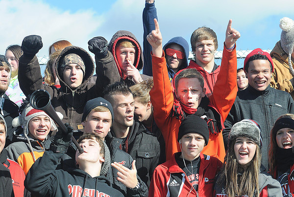 Pikeview fans cheer in match against Bridgeport in the class AA-A girls soccer semi-final match held at the YMCA Youth Sports Complex in Beckley Friday morning.<br /> Rick Barbero/The Register-Herald