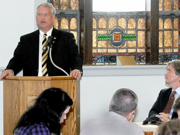 Senator Bill Cole of Bluefield spoke during Thursday's Legislative Luncheon on the UC Beckley campus. F. Brian Ferguson/The Register-Herald