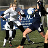 Winfield Reilly Bannister, left, and Washington's Sophia Bouchoc, right, fight for the ball during the AAA Girls State Championship Soccer game on Saturday in Beckley. F. Brian Ferguson/The Register-Herald