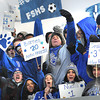 Fairmont Senior fans cheer during match against Sissonville in the class AA-A girls soccer semi-final match held at the YMCA Youth Sports Complex in Beckley Friday morning.<br /> Rick Barbero/The Register-Herald