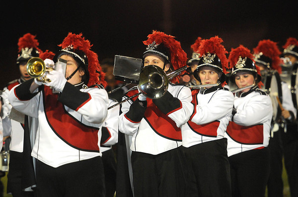 Oak Hill Red Devils band performing during game against the Woodrow Wilson Flying Eagles at Oak Hill High School Friday Night.<br /> Rick Barbero/The Register-Herald
