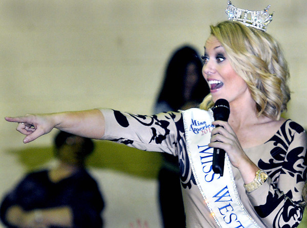 Miss West Virginia, Miranda Harrison interacts with students a Maxwell Hill Elementary School during Thursday's school assembly. . F. Brian Ferguson/The Register-Herald