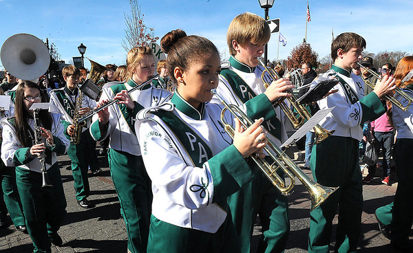 Park Middle School band perform during the Beckley Veterans Day Parade on Neville Street uptown Beckley.<br /> Rick Barbero/The Register-Herald