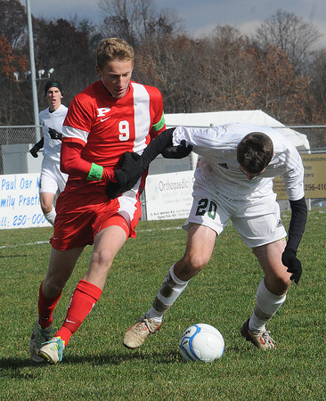 Parkersburg vs Winfield in the class AAA boys soccer semi-final match held at the YMCA Youth Sports Complex in Beckley Friday morning.<br /> Rick Barbero/The Register-Herald