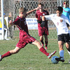George Washington vs Jefferson in the class AAA boys soccer semi-final match held at the YMCA Youth Sports Complex in Beckley Friday morning.<br /> Rick Barbero/The Register-Herald