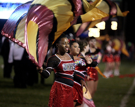 The Oak Hill band performs during halftime of the Red Devils' playoff game at George Washington Friday night.