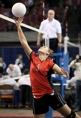 Greater Beckley Christian's Heather Lambert (#5) plays during the Crusader's Class A State Volleyball Tournament opening round victory over the Pendleton County Wildcats Friday evening.