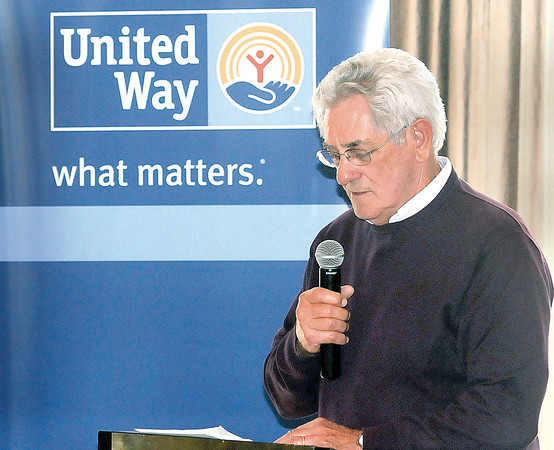 Bill Baker, the Featured Speaker at Tuesday's United Way Leaders Club Luncheon, addresses the audience at Black Knight Country Club. F. Brian Ferguson/The Register-Herald