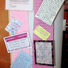 Notes of support were pinned to the longest pink scarf in the world, which was on display at Tamarack, on Tuesday afternoon, to promote breast cancer awareness. F. Brian Ferguson/The Register-Herald