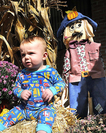 Cody Allen, 11 months, son of Cameron and Samatha Allen, sits on his grandparents fall display off of Old Eccles Road in Beckley.<br /> Rick Barbero/The Register-Herald