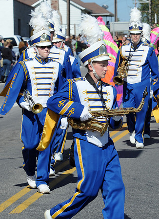 The Shady Spring High School Marching Band kept in step during Friday's Homecoming parade in Shady Spring. F. Brian Ferguson/The Register-Herald