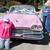 a pink 1960 Dodge Dart was on display in support of the longest pink scarf in the world, which was on display at Tamarack, on Tuesday afternoon, to promote breast cancer awareness. F. Brian Ferguson/The Register-Herald