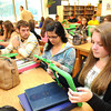 Students at Shady Spring High School work on there new iPads in the school Library.<br /> Rick Barbero/The Register-Herald