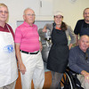 Members of the Kiwanis Club of Beckley will work the kitchen of the First Christian Church, at the corner of Fayette and Prince Streets, for Friday's 33rd Annual Phil McDaniel/Mike Hunt Pancake Day. (From left), Bill May, George Wilson, Audrie Stanton-Smith, Dan McClure, and Josh Jones. F. Brian Ferguson/The Register-Herald