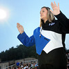 Meadow Bridge Drum Major Lindsey Sanford leads the band before the start of the Meadow Bridge-Fayetteville game in Meadow Bridge. F. Brian Ferguson/The Register-Herald