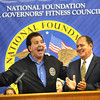 Gov. Earl Ray Tomblin, right, and  Jake Steinfield, chairman of the National Foundation for Governors Fitness Councils, talk at Stratton Elementary School about the schools brand new Live Positively TM Fitness Center.<br /> Rick Barbero/The Register-Herald