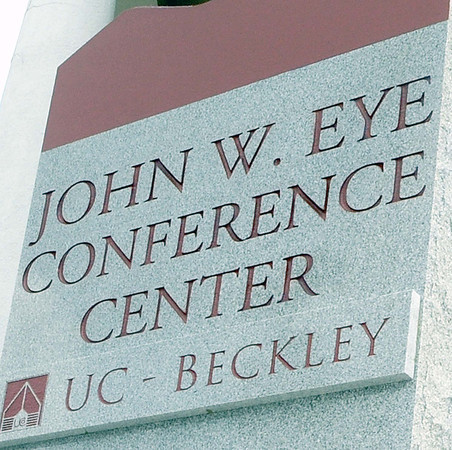 The new monument sign that honors the late John W. Eye during Tuesday's re-dedication of the John W. Eye building on the UC -Beckley campus.  F. Brian Ferguson/The Register-Herald
