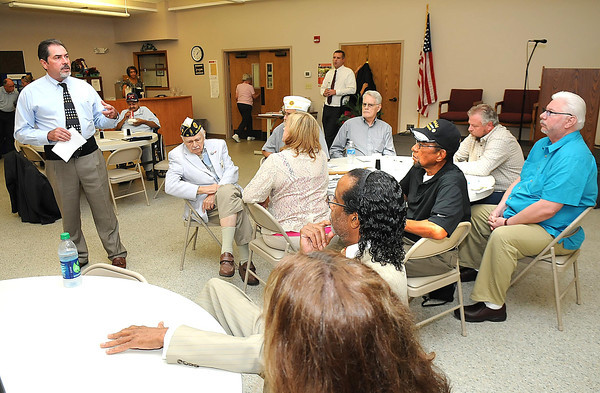 Rick Thompson, cabinet secretary West Virginia Deptartment of Veterans Assistance, speaks at the Raleigh County Commission on Aging on South Kanawha Street in Beckley Wednesday afternoon.<br /> Rick BArbero/The Register-Herald