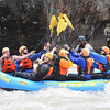 Rafters celebrate after making it past pillow rock in the upper Gauley River during the first day of the Gauley season.<br /> Rick Barbero/The Register-Herald