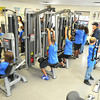 Students at Stratton Elementary School workout on the schools  brand new Live Positively TM Fitness Center.<br /> Rick Barbero/The Register-Herald