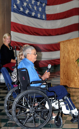 """Native American Korean Conflict Veteran Everett (Ed) Cucumber sings """"Amazing Grace"""" in both English and in his native Cherokee tongue during Park Middle School's 911 Memorial event at the school on Wednesday afternoon.  F. Brian Ferguson/The Register-Herald"""