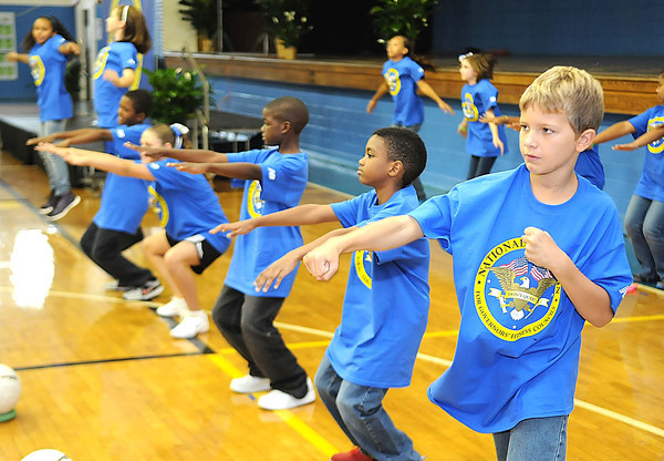 Stratton Elementary School recieved a brand new Live Positively TM Fitness Center.<br /> Rick Barbero/The Register-Herald
