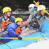 Rafters struggle to get past a rapid at pillow rock in the upper Gauley River during the first day of the Gauley season.<br /> Rick Barbero/The Register-Herald