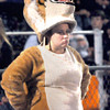 Summers County Bobcat mascot, Maddie Lawson watches as her team took on Wyoming East in Brooks on Friday evening. F. Brian Ferguson/The Register-Herald