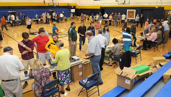 Students at Shady Spring High School received new iPads in the school gym.<br /> Rick Barbero/The Register-Herald