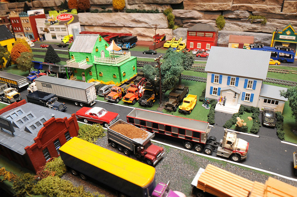 Eddie Goddard, of Brooks, with his HO scale model railroad display.<br /> Rick Barbero/The Register-Herald