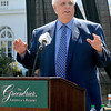Greenbrier owner Jim Justice speaks to the crowd Tuesday afternoon on the front lawn of the luxury resort as he announces the band Maroon 5 and singer-singwriter Jimmy Buffett, will perform at this year's Greenbrier Classic Concert Series in White Sulphur Springs.<br /> Brad Davis/The Register-Herald
