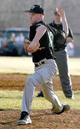 Wyoming East starting pitcher Christian Hedinger delivers against Liberty Tuesday evening in Glen Daniel.<br /> Brad Davis/The Register-Herald
