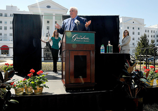 Greenbrier Resort owner Jim Justice speaks to the crowd Tuesday afternoon as he announces that the artists will perform at this year's Greenbrier Classic Concert Series in White Sulphur Springs.<br /> Brad Davis/The Register-Herald