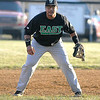 Wyoming East third baseman Jaquan Ayers mans his position during a game at Liberty April 1.<br /> Brad Davis/The Register-Herald
