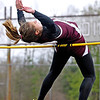 Woodrow Wilson's Hannah Greco attempts a high jump of 5 feet and 2 inches during the Beckley Relays Tuesday evening at Van Meter Satdium.<br /> Brad Davis/The Register-Herald