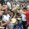 Drew Brees signs autographs after the New Orleans Saints scrimmage Saturday morning at The Grenbrier Resort.<br /> Rick Barbero/The Register-Herald