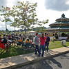 Brad Davis/The Register-Herald <br /> Hundreds gather at downtown Beckley's Word Park Saturday evening during the Simply Jazz and Blues Festival.