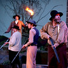 Brad Davis/The Register-Herald<br /> Jim Vance (far right), played by Bob Athey, trudges through the night with other armed Hatfield men during a scene from Theatre West Virginia's Hatfields and McCoys July 25 at Grandview Park's Cliffside Amphitheatre.