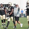 Rob Ryan, defensive coordinator, works with his defense during the New Orleans Saints practice Tuesday morning at The Greenbrier Resort.<br /> Rick Barbero/The Register-Herald