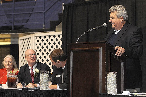 Rick Barbero/The Register-Herald<br /> Greg Darby speaks, during the Spirit of Beckley Community Service Award Banquet held at the Beckley-RAleigh County Convention Center Monday night.