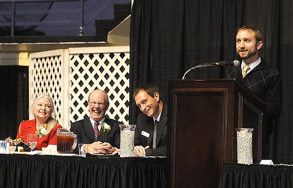 Rick Barbero/The Register-Herald<br /> Cutter Houck, son of Charlie Houck, speaks during the Spirit of Beckley Community Service Award Banquet held at the Beckley-RAleigh County Convention Center Monday night.