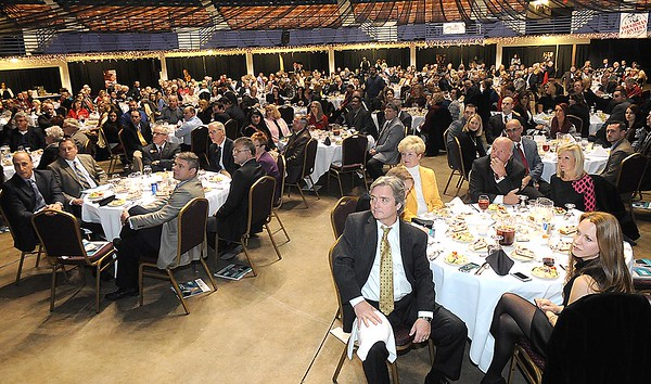 Rick Barbero/The Register-Herald<br /> Large crowd attended the Spirit of Beckley Community Service Award Banquet held at the Beckley-RAleigh County Convention Center Monday night.
