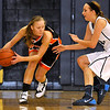 Brad Davis/The Register-Herald<br /> Summers County's Brittney Justice looks for an open teammate as Tigers defender Morgan Brown applies pressure Thursday night in Shady Spring.