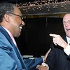 Rick Barbero/The Register-Herald<br /> Clarence Mizell, of Beckley, left, interacts with Charlie Houck, during the Spirit of Beckley Community Service Award Banquet held at the Beckley-Raleigh County Convention Center Monday night.