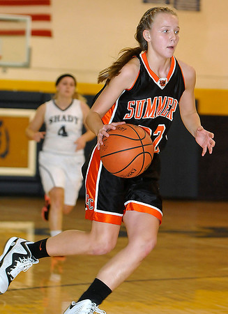 Brad Davis/The Register-Herald<br /> Summers County's Whittney Justice dribbles the ball during a game at Shady Spring December 4.