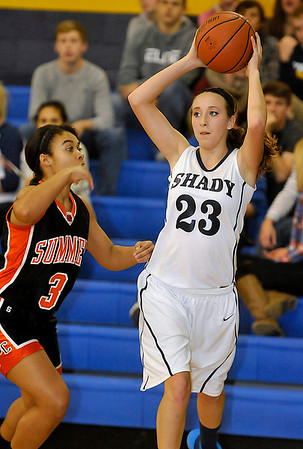 Brad Davis/The Register-Herald<br /> Shady Spring's Morgan Brown looks for an open teammate during a home game against Summers County December 4.