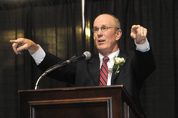 Rick Barbero/The Register-Herald<br /> Charlie Houck speaks during the Spirit of Beckley Community Service Award Banquet held at the Beckley-RAleigh County Convention Center Monday night.