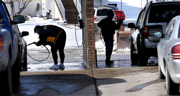 The Bradley Speed & Car Wash was packed during lunch hour on Friday as customers cleaned weeks worth of road salt from their vehicals. F. Brian Ferguson/The Register-Herald