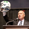Marshall University head coach Doc Holliday describes a special helmet the Thundering Herd wore this year in honor of the 75 lives lost in the November 1970 plane crash during the Big Atlantic Classic Tip-Off Banquet Sunday afternoon at the Beckley-Raleigh County Convention Center.<br /> Brad Davis/The Register-Herald