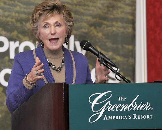 Gayle Manchin, with the West Virginia Board of Education, delievers a speech during  Friday's Farm to School Collaborative showcase at the Greenbrier. F. Brian Ferguson/The Register-Herald